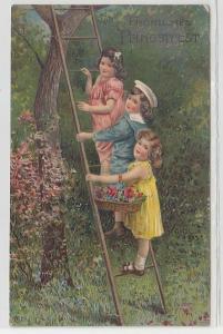 11463 Fröhliches Pfingstfest Ak 3 Kinder stehen auf Leiter 1908
