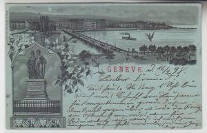 61348 Mondscheinkarte Geneve Genf Totalansicht, Monument National 1898