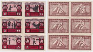 6 Banknoten Notgeld Luebeck Horca Bund um 1921 (120742)