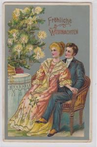 73273 Fröhliche Weihnachten Ak Ehepaar auf Sofa vor Tannenbaum 1911