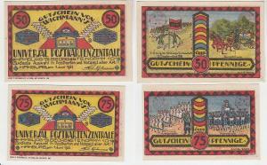 50 & 75 Pfennig Banknoten Notgeld Hamburg Postkartenzentrale 1921 (116119)