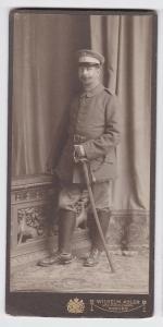 83694 Kabinett Foto Soldat mit Säbel und Portepee Coburg