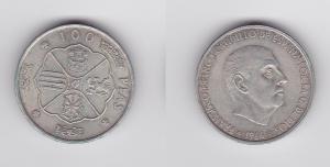 100 Pesetas Silber Münze Spanien 1966 (124639)
