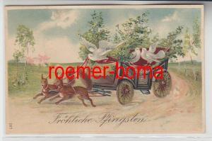 78582 Fröhliche Pfingsten Präge Ak Eichhörnchen ziehen Kutsche mit Tauben 1912