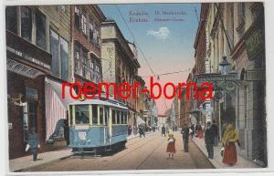 75996 Ak Kraków Krakau Ul. Slawkowska Slakauer Gasse mit Straßenbahn 1915