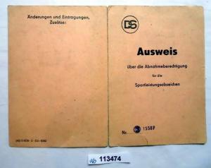 DDR Ausweis über die Abnahmeberechtigung für die Sportleistungsabzeichen(113474)