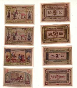 4 Banknoten Notgeld Gemeinde Wasserleben 1921 (112542)