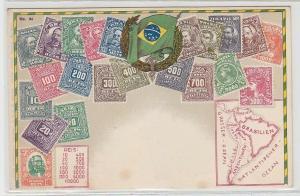 27401 Wappen Ak Brasilien Brazil mit Briefmarken um 1900