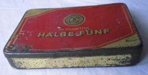 Blechdose Halbe-Fünf Zigaretten um 1930 (111045)