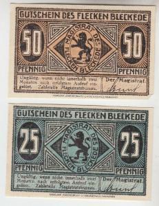 25, 50 Pfennige Banknoten Notgeld Flecken Bleckede um 1920 (112241)
