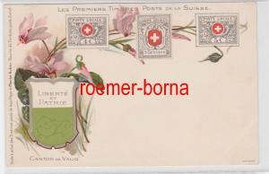 84503 Ak Lithographie Die ersten Briefmarken der Schweiz um 1900