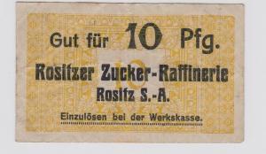 10 Pfennig Banknote Notgeld Rositzer Zucker Raffinerie um 1920 (121669)