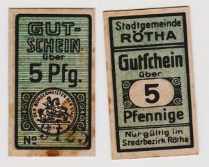 5 Pfennig Banknote Notgeld Stadtgemeinde Rötha ohne Jahr (120278)