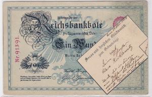 90824 Geburtstags Ak Motiv einer 100 Mark Reichsbanknote nachempfunden 1905