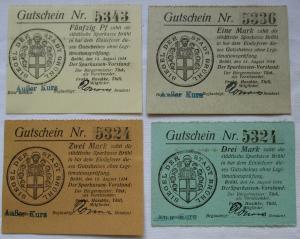 4 x Notgeld der Sparkasse Brühl , 50 Pfennig bis 3 Mark 14. August 1914 (124812)