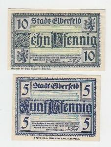5 und 10 Pfennige Banknoten Notgeld Stadt Elberfeld 1920 (110985)