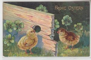 68817 Frohe Ostern Ak 2 Kücken schauen durch Holzbrett Glücksklee 1908