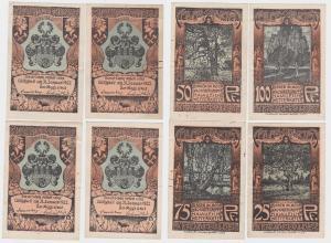 4 Banknoten Notgeld Stadt Celle Celler Quartett o.D. Heidebilder (1922) (121095)