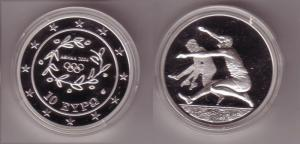 10 Euro Silber Münze Griechenland Olympiade Weitspringer 2004 PP (102553)