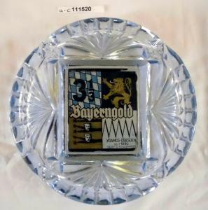 Werbe-Aschenbecher aus Glas Yamos Dresden Zigaretten Bayerngold um 1930 (111520)