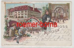 73824 Ak Lithographie Gruss aus München königliches Hofbräuhaus 1900
