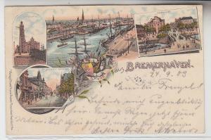 66971 Ak Lithographie Gruß aus Bremerhaven 1903