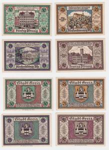 4 Banknoten Notgeld Stadt Greiz 5.9.1921 (122172)