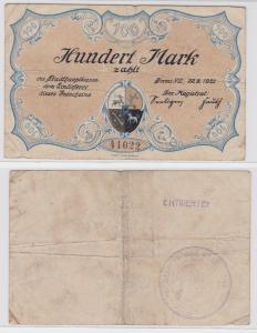 100 Mark Banknote Notgeld Stadt Sorau 22.9.1922 (122089)