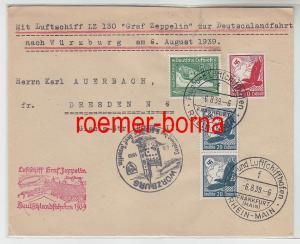 79627 Zeppelin Brief Deutschlandfahrten 1939 Würzburg Dresden