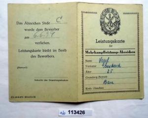 DDR Leistungskarte GST für Mehrkampfleistungsabzeichen (113426)