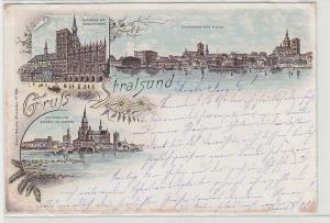 62548 Ak Lithographie Gruß aus Stralsund Panorama usw. 1896