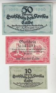 10, 25, 50 Pfennige Banknoten Notgeld Stadt Calbe an der Saale 1920 (111172)