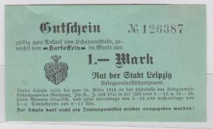 1 Mark Kartoffel Gutschein Stadt Leipzig 28.März 1918 (120536)