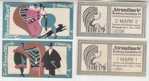 1 und 2 Mark Banknoten Notgeld Hamburg Strandkorb Steindamm 83 ohne Dat.(115867)