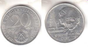DDR Gedenk Münze 20 Mark 30.Jahrestag der DDR 1979 (111451)