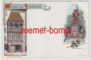 76349 Ak Gruss aus Innsbruck Goldenes Dachel u. Hofer-Denkmal 1899