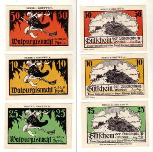 3 Banknoten Notgeld Stadt Kahla Leuchtenburg Wirtschaft um 1921 (112346)