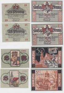 2x 25 & 2x 50 Pfennig Banknoten Notgeld Stadt Wunsiedel 11.11.1918 (121326)
