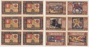 6x 50 Pfennig Banknoten Notgeld Stadt Altenburg Prinzenraubserie 1921 (122749)