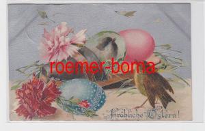 80688 Ak Fröhliche Ostern! Spatzen im Ei in einer Holzpantine 1907