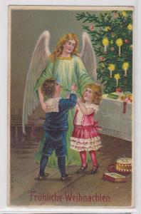87861 Fröhliche Weihnachten Ak Engel mit 2 Kindern vor Tannenbaum 1911