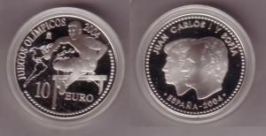10 Euro Silber Münze Spanien Olympiade Athen Hürdenlauf 2004 PP (103649)