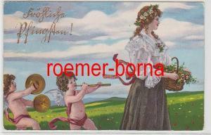 66622 Ak Fröhliche Pfingsten! musizierende Engel folgen Frau m. Blumenkorb 1907
