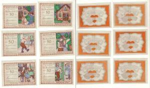 6 Banknoten Notgeld Gemeinde Schobüll um 1920 (112387)