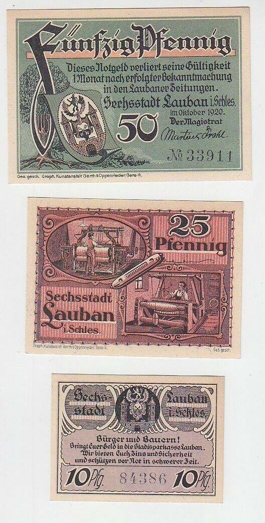 10,25,50 Pfennige Banknoten Notgeld Stadt Lauban in Schlesien 1920 (112240) 0