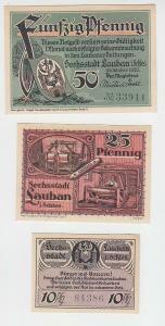 10,25,50 Pfennige Banknoten Notgeld Stadt Lauban in Schlesien 1920 (112240)
