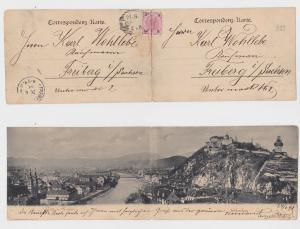 91556 Doppel Klapp Ak Graz Totalansicht mit Schloßberg 1898