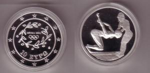 10 Euro Silber Münze Griechenland Olympiade Schwimmerin 2004 PP (108583)