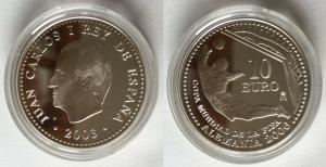 10 Euro Silber Münze 2003 Spanien Fussball WM 2006 in Deutschland (122690)