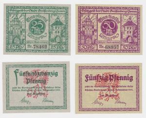 25 & 50 Pfennig Banknoten Notgeld Greifenberg in Pommern 1919 (122516)